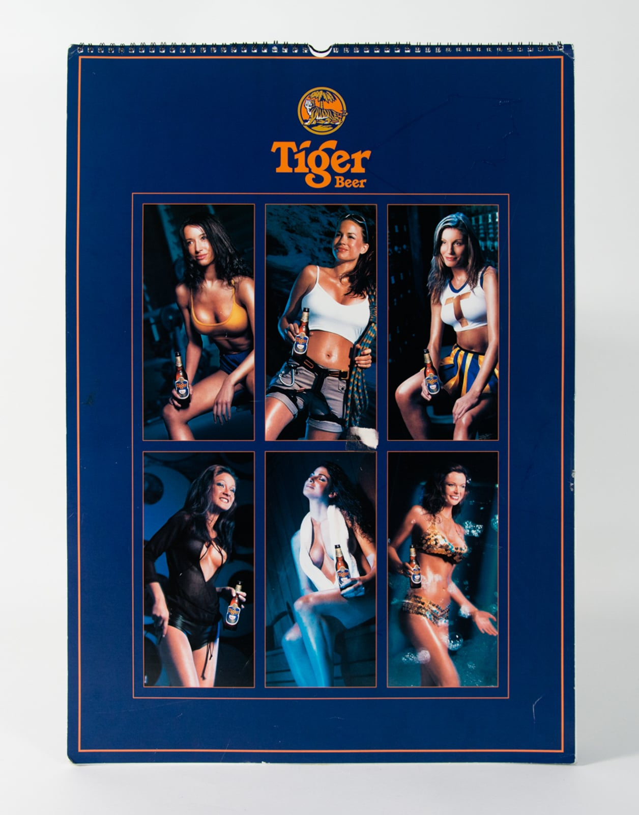 2001 Tiger Beer Calendar with pictures of six pin-up girls