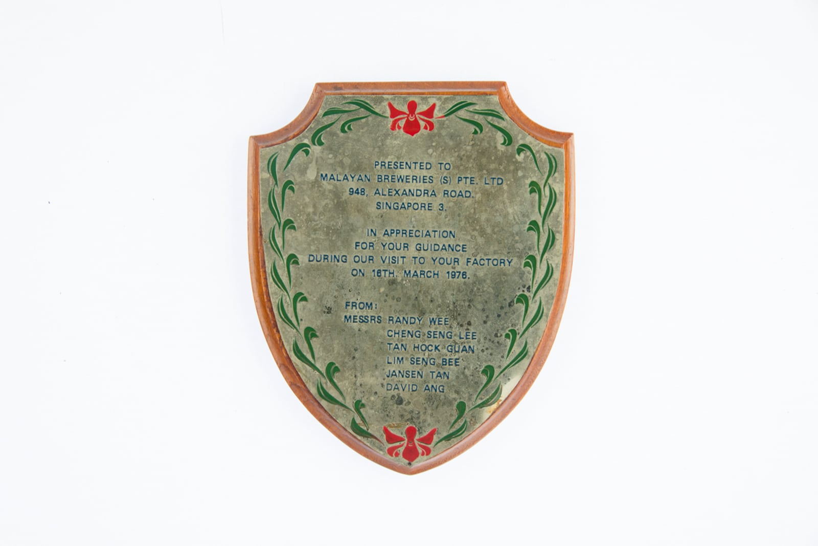 Messrs Randy Wee and others Appreciation Plaque 1976
